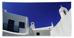 Hand Towel featuring the photograph Mykonos Greece Clean Line Architecture by Bob Christopher