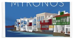 Mykonos Little Venice - Blue Bath Towel