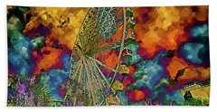 Bath Towel featuring the photograph Myrtle Beach Skywheel Abstract by Bill Barber
