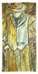 Hand Towel featuring the painting Mystery Man by Cathie Richardson