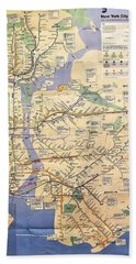 N Y C Subway Map Bath Towel