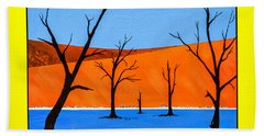 Hand Towel featuring the painting Namibia Desert Duns by Ken Frischkorn