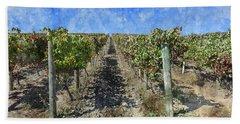 Napa Valley Vineyard - Rows Of Grapes Bath Towel