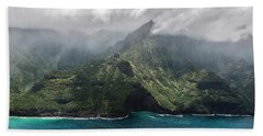 Napali Coast In Clouds And Fog Bath Towel