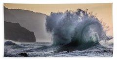Napali Coast Kauai Wave Explosion Bath Towel