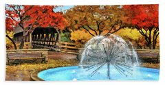 Bath Towel featuring the painting Naperville Dandelion Fountain by Christopher Arndt