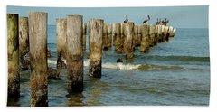 Naples Pier And Pelicans Hand Towel