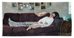 Bath Towel featuring the photograph Naptime With The Boys by Kathie Chicoine