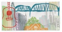 Nashville Cityscape- Art By Linda Woods Hand Towel