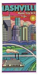 Nashville Pop Art Travel Poster Bath Towel