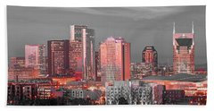 Nashville Skyline Art Version 2018 1 To 4 Ratio Panorama Color Hand Towel