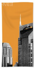 Nashville Skyline At And T Batman Building - Orange Hand Towel by DB Artist