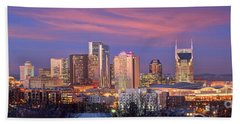 Nashville Skyline At Dusk 2018 Panorama Color Hand Towel