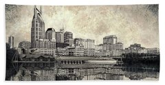 Bath Towel featuring the mixed media Nashville Skyline II by Janet King