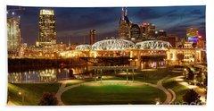 Hand Towel featuring the photograph Nashville Twilight Skyline by Brian Jannsen