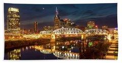 Bath Towel featuring the photograph Nashville Twilight Skyline II by Brian Jannsen