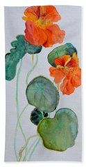Hand Towel featuring the painting Nasturtiums Study Two by Beverley Harper Tinsley