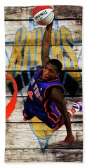 Hand Towel featuring the mixed media Nate Robinson 2c by Brian Reaves