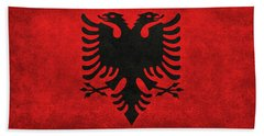 Bath Towel featuring the digital art National Flag Of Albania With Distressed Vintage Treatment  by Bruce Stanfield