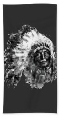 Hand Towel featuring the mixed media Native American Chief Black And White by Marian Voicu