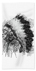 Hand Towel featuring the mixed media Native American Chief Side Face Black And White by Marian Voicu