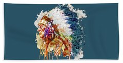 Native American Chief Side Face Hand Towel