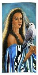 Native American Maiden With Falcon Bath Towel