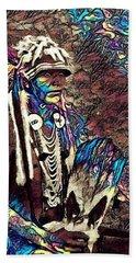 Plains Indian Warrior With Buffalo Headdress In The Trees Bath Towel