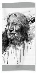 Hand Towel featuring the mixed media Native American Portrait Black And White by Marian Voicu