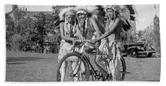 Native Americans With Bicycle Hand Towel