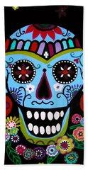 Bath Towel featuring the painting Native Dia De Los Muertos Skull by Pristine Cartera Turkus