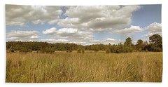 Natural Meadow Landscape Panorama. Bath Towel