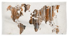 Natural Planks World Map Hand Towel