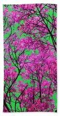 Natures Magic - Pink And Green Bath Towel