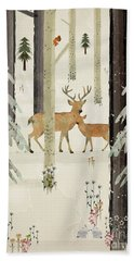 Hand Towel featuring the painting Natures Way The Deer by Bri B