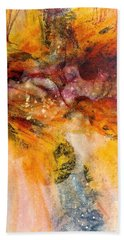 Bath Towel featuring the painting Naturescape In Red by Carolyn Rosenberger