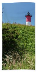 Nauset Lighthouse With Daisies Cape Cod Hand Towel