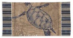 Nautical Stripes Sea Turtle Hand Towel by Debbie DeWitt