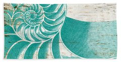 Nautilus Shell Distressed Wood Hand Towel by Brandi Fitzgerald