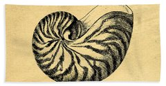 Hand Towel featuring the digital art Nautilus Shell Vintage by Edward Fielding