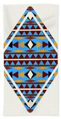 Navajo Blue Pattern Art Bath Towel