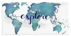Navy And Teal Explore World Map Bath Towel