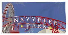 Navy Pier Hand Towel by Mary Machare