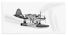 Navy Scout Observation Plane Pen And Ink No  Pi201 Bath Towel by Kip DeVore