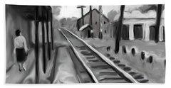 Needham Train Station 1959 Bath Towel