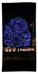 Bath Towel featuring the painting Needham's Blue Tree by Jean Pacheco Ravinski