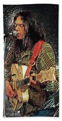Neil Young Bath Towel by Taylan Apukovska