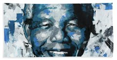 Hand Towel featuring the painting Nelson Mandela II by Richard Day