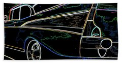 Neon 57 Chevy Bel Air Bath Towel