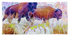 Neon Bison Pair Bath Towel
